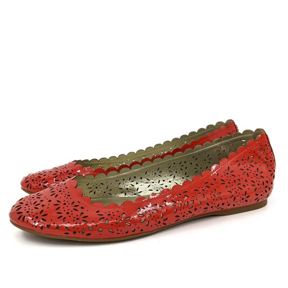 Coach Carsin Red Patent Leather Eyelet Ballet Flat